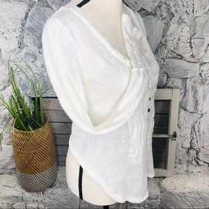 Free People Top White Crop Button Long Sleeve M